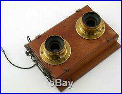 13x18 wooden stereo camera 1900 antique Holz Kamera brass lenses shutter /20K