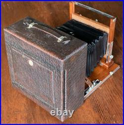 1903 folding field camera, bellows, lens, wooden antique 5x7 B&L zeiss Tessar