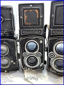 5 VINTAGE ROLLEIFLEX TLR TWIN LENS CAMERA LOT For Restoration, Parts Or Repair