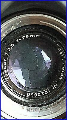 Ancien ROLLEIFLEX 3.5F Tessar 75mm Carl Zeiss Twin Lens Rollei F&H +housse TESTÉ