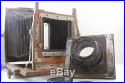 Antique 4x5 large format camera + 2 Lot Focusing grass + FUJINAR 18cm f4.5 Lens
