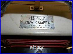 Antique Burke & James 5x7 Wooden View Camera withLens Cover & Original Carry Case