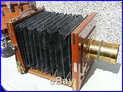 Antique Lancaster International Folding Camera Rapid Cabinet Lens & Accessories