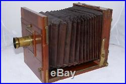 Antique Tailboard 10x12 Large Format Camera. Mackenstien Aplanat 16 brass Lens