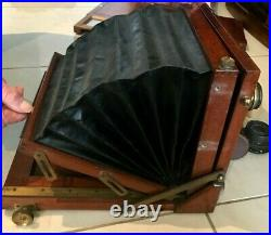 Antique Wray London Wooden Bellows Folding Camera & Extra Plates Boxed + Lens