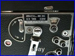 BOLEX H16 SBM 16mm Movie Camera & KERN VARIO-SWITAR F=16-100mm BOLEX H16RX Lens
