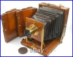 Beautiful Mahogany & Brass Half Plate Field Camera Laverne Clement & Gilmer lens