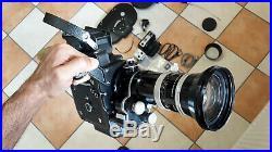 Bolex H16 Ebm Electric 16mm Film Camera Vario Switar Lens Magazines Crystal Sync