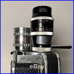 Bolex h16 reflex 16mm Film Camera with 3 Lenses