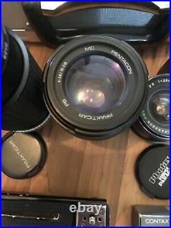 Box Of Vintage Camera Lenses & Accessories