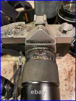CAMERA LOT OF 3 + Lenses! Konica Autoreflex TC 35mm Camera Lot Vintage 5 Lenses
