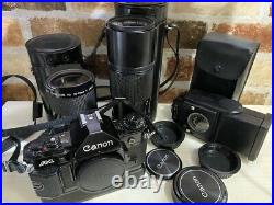 Canon A-1 35mm SLR Film Camera +2 lenses, bag and accessories from Japan #447