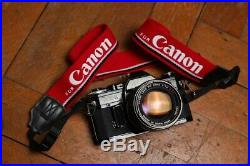 Canon AE-1 BLACK Film SLR 35mm Camera + Canon 50mm f/1.4 FD Lens RARE Vintage