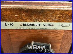 Deardorff 8x10 View Camera, 10 film slides, 2 lens, wood case, vintage tripod