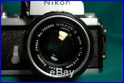 EX-Vintage Nikon F film camera & Nikkor 50mm/f11.4 Non AI lens