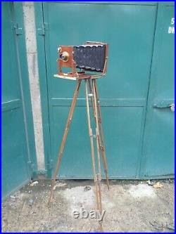 Gandolfi Mahogany Folding Plate Camera 1900, Reiss Lens 1900 Tripod All Mint