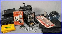 Graflex Speed Graphic 4x5 Camera Kit with Kodak Ektar Lens, Film Backs and Flash