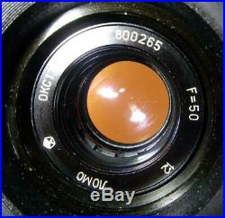 KONVAS 1KCP-1M movie film camera w 15EPSS motor 28mm 50mm 135mm lens woody box