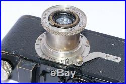 Leica I (A) vintage camera. Circa 1930. Elmar 50mm f/3.5 nickel lens. Filters