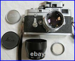 Leica M3 Camera with Summicron 12/50 Lens Leica Meter MR Hood 39E Filter Old Vtg