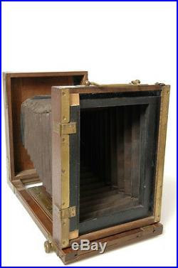 MAHOGANY 13x18cm, 5x7' FOLDING FIELD VIEW PLATE CAMERA With LENS