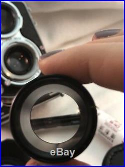 Minolta Autocord Twin Lens Reflex Camera for 120 film Plus Lenses And Lens Shade