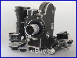 NEAR MINT Bolex H16 SB 16mm movie Camera C mount adaptor + 3 Lens Japan C59
