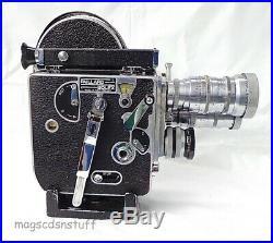 PAILLARD BOLEX H-16 Vintage 16mm MOVIE CAMERA + 3 Lenses, Case & Accessories