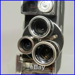 Paillard Bolex D8L 8mm Movie Camera with Hand Grip & 3 Lenses + Case MINT #S8-2120