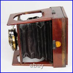 RARE Shew & Co Xit Mahogany Wooden Plate Camera & Aldis No. 2 f/6 Lens (3103BL)