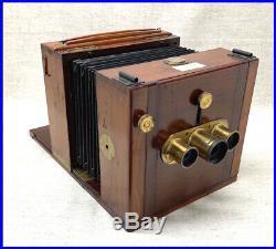 Rare 1860's Horne & Thornthwaite TRIPLE LENS STEREO wet plate camera