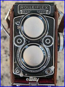 Rolleiflex 120mm Film TLR Camera Carl Zeiss Planar f2.8 80mm lens DBP DBG w case