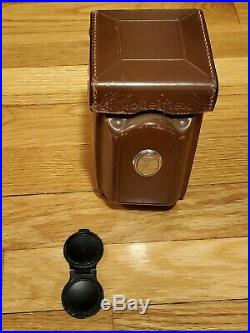 Rolleiflex tlr camera, 122xxxx, 2.8/75, 3.5/75, W. Leather Case And Lens Cover