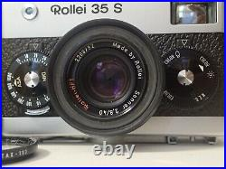 Rollie 35 S film camera 35mm with case and clear pentax lens cover, for service