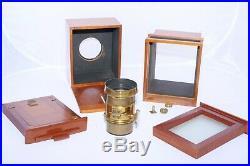 Roseman 1/4 sliding box Daguerreotype REPLICA camera. Vintage Darlot brass lens