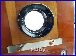 Soviet USSR Large Format wooden camera FKD 13x18 with Lens Industar 51 4,5/210