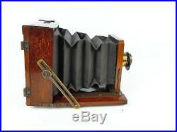 The Clydesdale Set Patent 1/4 Plate Wood & Brass Camera With Dial Brass Lens