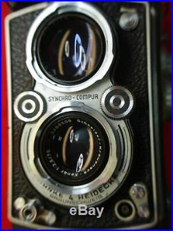 VINTAGE ROLLEIFLEX SYNCHRO-COMPUR DUAL LENS TLR 75MM CAMERA WithORIG CASE & STRAP