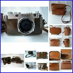 VTG 1953 Nikon Camera Lot, Nikkor Telephoto Lens, Case, Minicam Flash Synchron