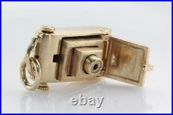 Vintage 14k Gold 3d Camera Photo Picture Charm Pendant Movable Lens