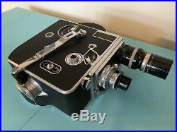 Vintage 1944 Paillard Bolex Movie Camera With 3 Lenses, Case, Paperwork