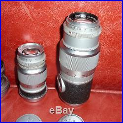 Vintage LEICA Camera 35mm film Outfit 5 Lens All Accessories Cased Set