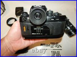 Vintage Nikon F4 35mm Camera With Lenses And Lots Of Extras Free Shipping