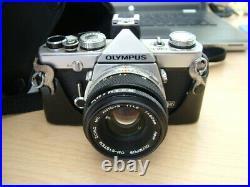 Vintage Olympus OM1n, 35mm, SLR, Film Camera. OM Auto S, 50mm, f1.8 Lens. Case
