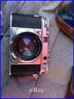 Vintage Voigtlander Prominent camera with 50mm Nokton 1.5 lens. Original Case