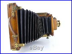 Vintage Wood & Brass Half Plate Folding Bellows Camera With Beck Lens