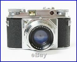 Voigtlander Prominent Camera w. Case + Ultron 50mm f/2 Lens + UV Filter & Shade