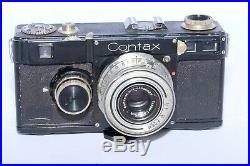 Zeiss Contax I (f) black rangefinder camera. CZJ Tessar 5cm f3.5 nickel lens